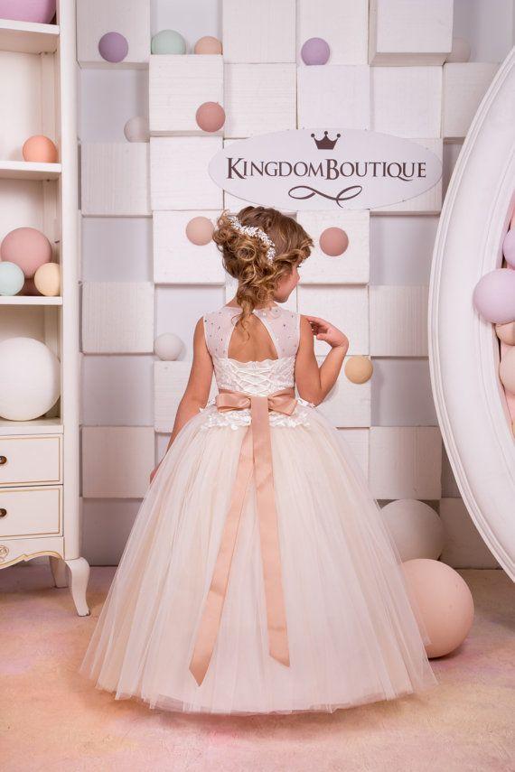 Ivory and Beige Flower Girl Dress Birthday Wedding Party | Etsy