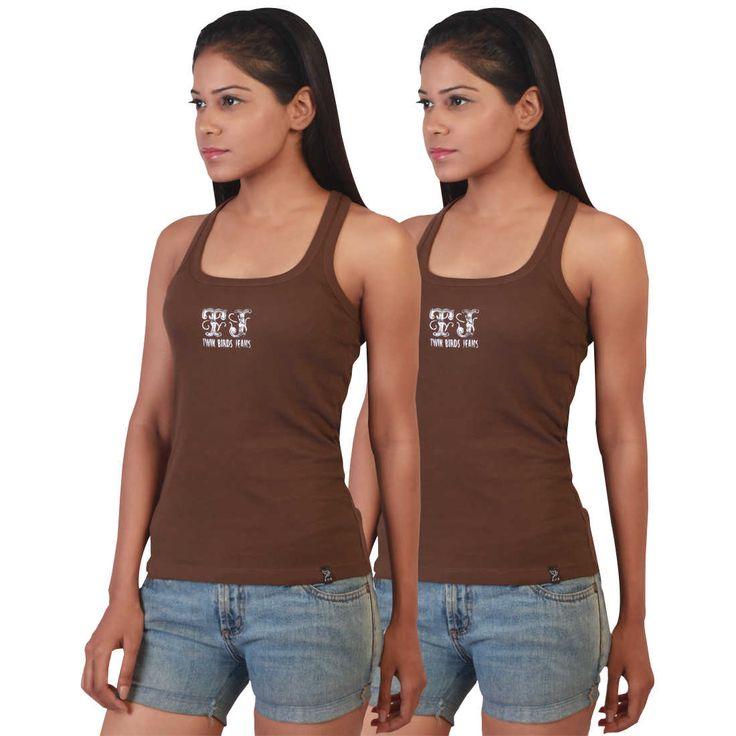 Buy Twin Birds Mocha Bean Scoop Neck Racer Back Vest Pack