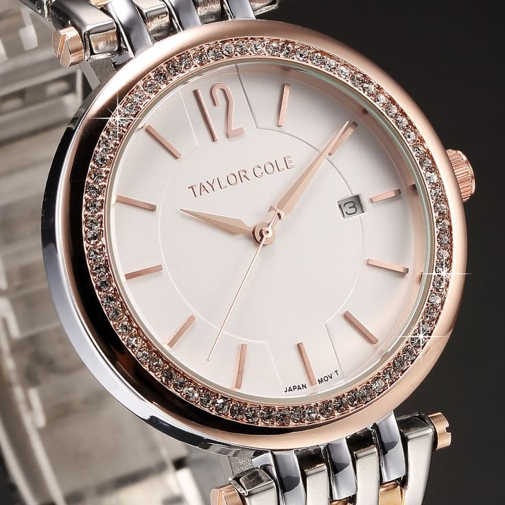 Taylor Cole Fashion Crystal Date Stainless Steel Quartz Lady Women Wrist Watch #TaylorCole