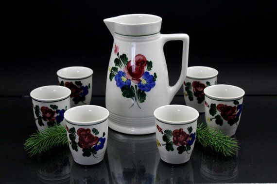 Vintage Original Hand Painted Lilies Porcelain Handmade Set Of 6 Cups And Jug 1 5 Liter Made In Austria Hand Painted Vintage Pottery Minimalist Wall Art