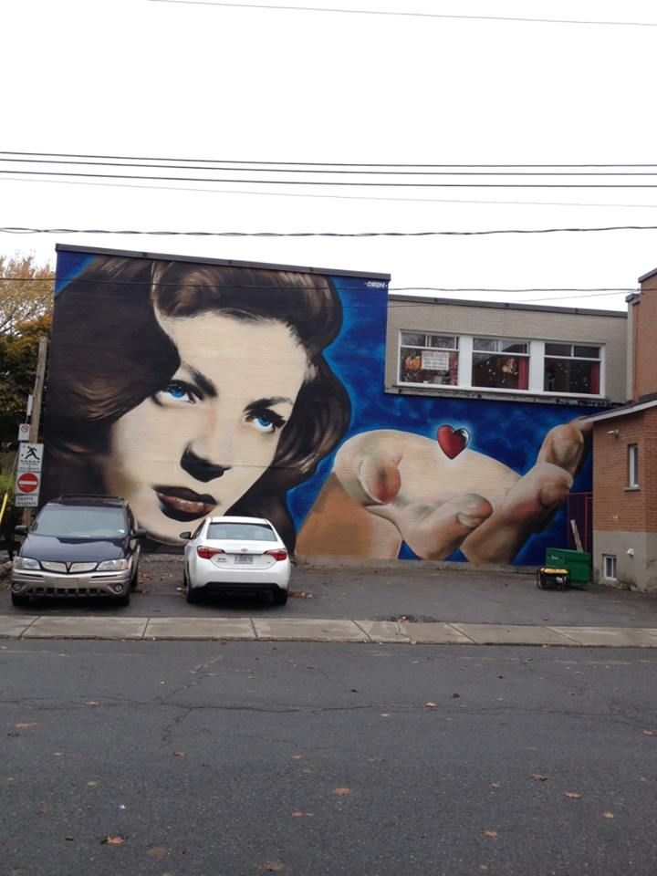 """New wall by Omen - """"All it takes is a little heart"""" - Ville st Laurent, Montreal (Canada) - Oct 2014"""