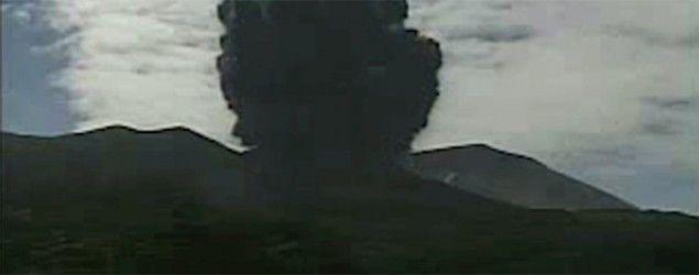 A video grab shows an eruption of Mount Shindake on Kuchinoerabu-jima island, Kagoshima Prefecture, southwestern Japan. (Japan Meteorological Agency/Reuters)
