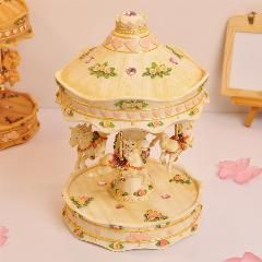 [ $27 OFF ] Wood Grain Carousel Music Box Male Birthday Gifts Romantic Gift Merry Go Around Christmas Music Boxes