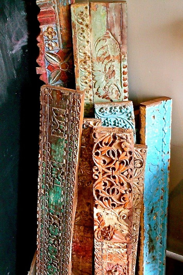 Antique Indian lintels...ooh, see how they can be repurposed into shelving!