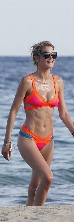 Who made Doutzen Kroes' orange, pink, and blue cut out bikini?