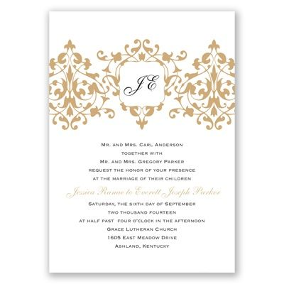 Romance - Golden Invitation davids bridal invitations