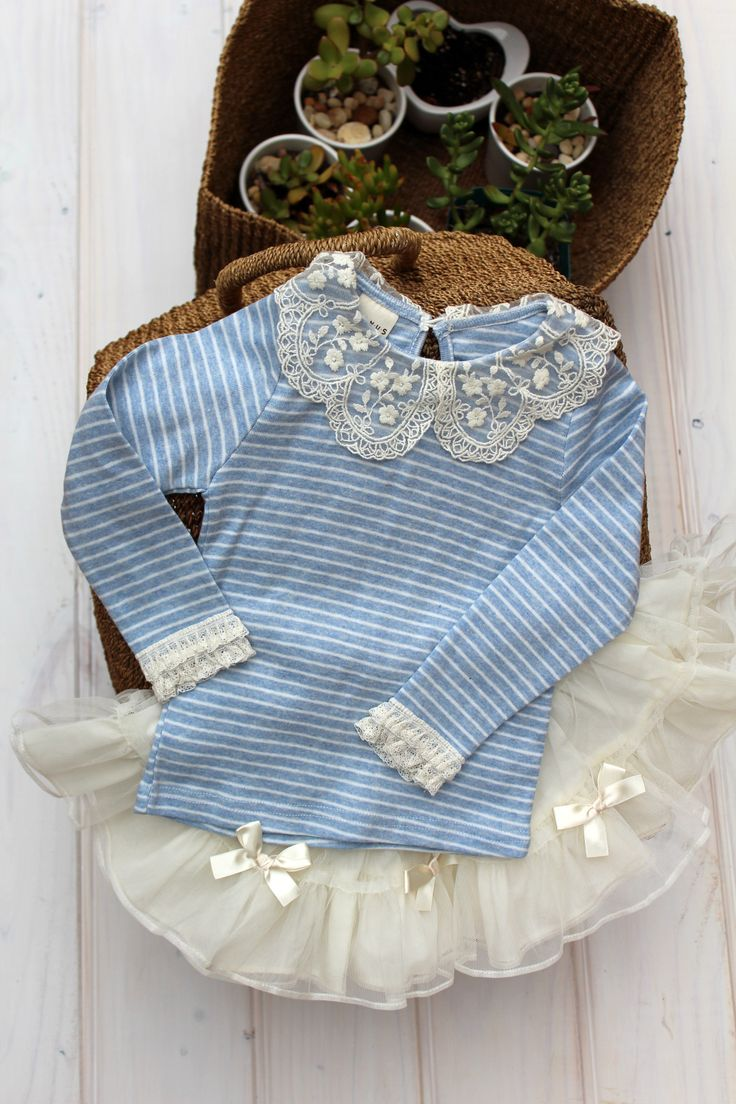 Girlish stripe top with Tulle skirt.