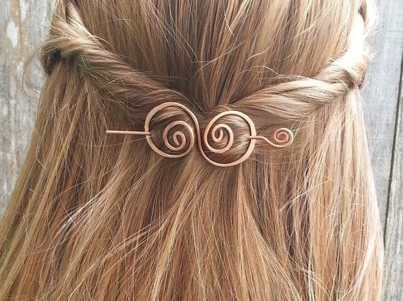 Hair barrette, copper, hair bow, spiral, hair clip. wire, hair pin, shawl pin, scarf pin, brooch, swirly, metal, hair accessories, for her on Etsy, $22.19 AUD