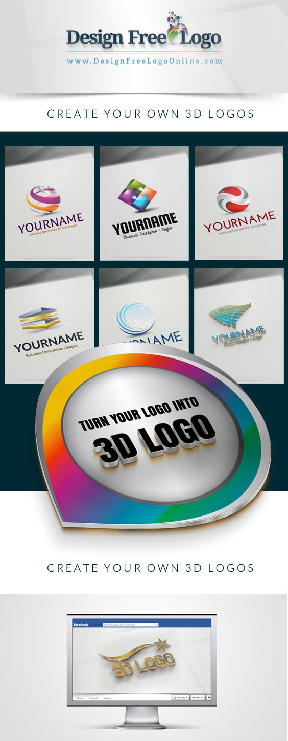 Create a Logo Online with our Free Logo Maker and 1000's of ready made 3D Logos.  With our free online logo maker you can create the perfect 3D logos for your business. In real time, use the 3D logo creator and customize your company name, slogan, colors, size, text fonts and much more.