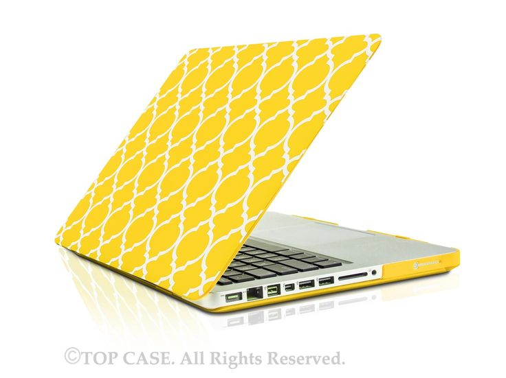 "Quatrefoil / Moroccan Trellis Yellow Matte Hard Case for Macbook Pro 15"" Model: A1286"
