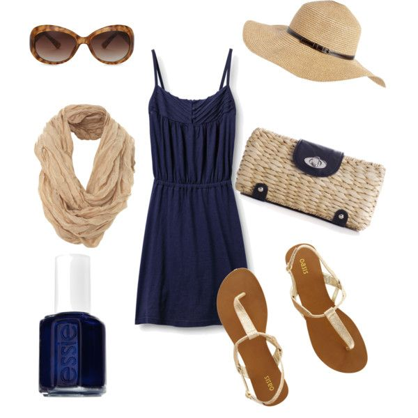 #summer #outfits / Blue Lace Dress + Beige Scarf
