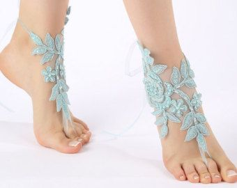 Free Ship ivory pearl embroidered laceBarefoot by ByMiracleBridal