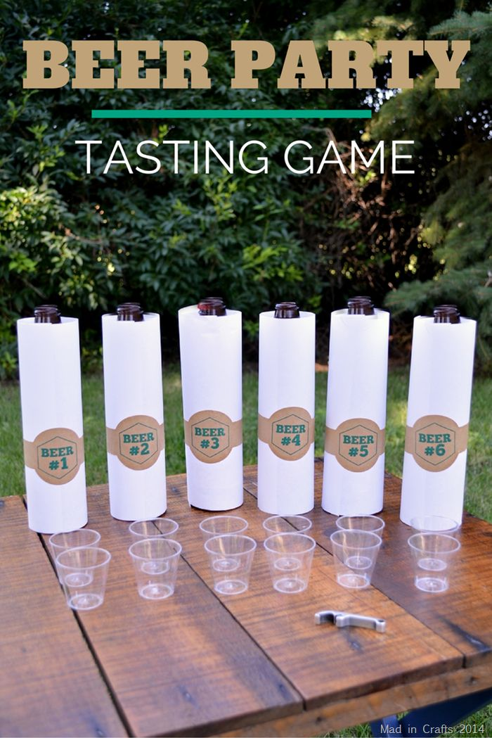 Beer party tasting game set up