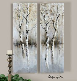 birch tree panels, wall art