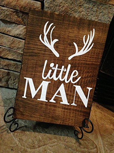 Rustic Deer Nursery Sign Little Man Antler Decor Woodland