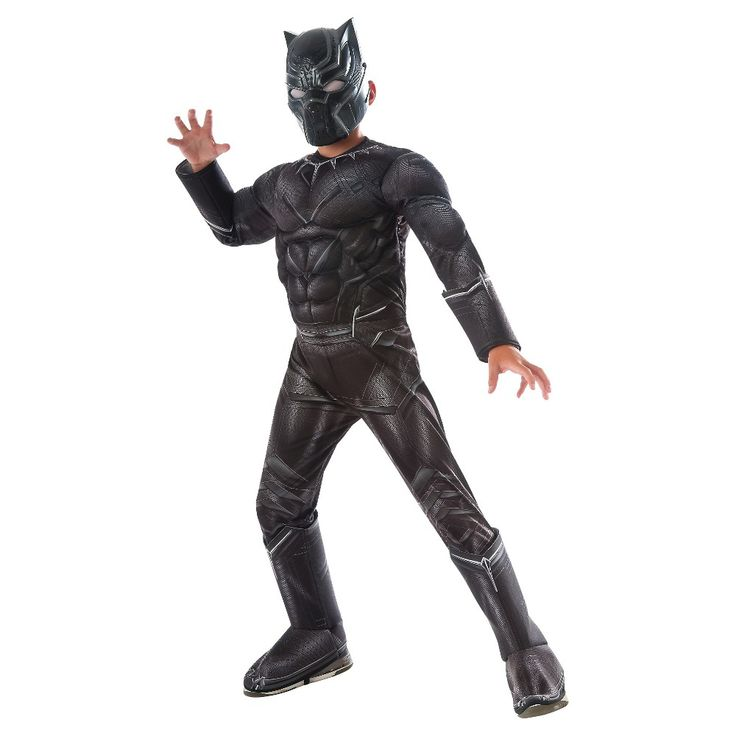 Captain America: Civil War Deluxe Boys' Black Panther Costume - Large, Boy's, Multi-Colored