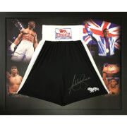 #All Star Signings Anthony Joshua Signed and Framed Shorts #Anthony Joshua won the IBF heavyweight title in April 2016, having previously held the British, Commonwealth, and WBC International heavyweight titles. As an amateur he represented Great Britain at the 2012 Olympics, winning a gold medal in the super-heavyweight division. Joshua is the second British boxer, after James DeGale, to win both a gold medal at the Olympics and a world title by a major professional sanctioning body, as…