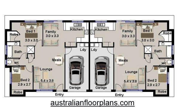 4 Bedroom Duplex House Plan 190du 2 X 2 Duplex Plans Australia Duplex Plans Australia House Plans Australia Duplex House Plans Duplex House