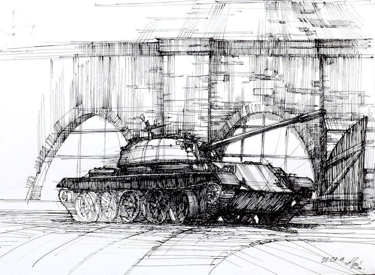 Tank form WW II in Cytadela Park in Poznan, Poland. Plain Air drawing for DOMIN Poznan drawing school.   http://nauka-rysunku.pl/