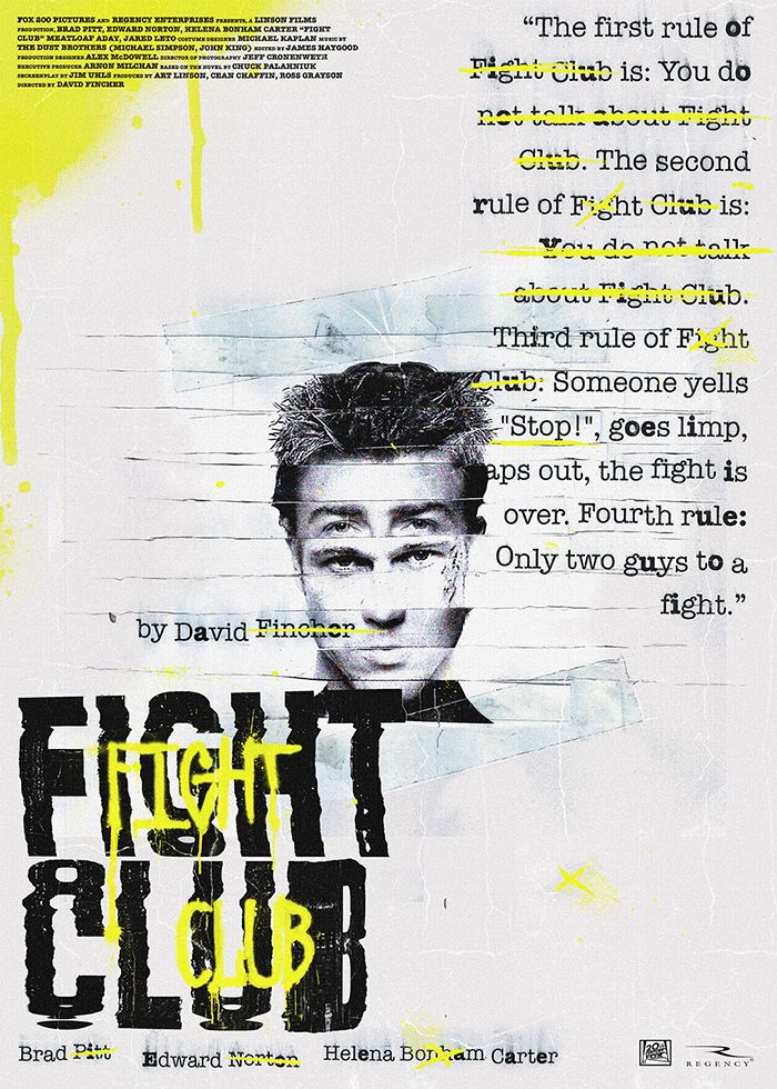 Fight Club By Rafael Orrico Diez Home Of The Alternative Movie Poster Amp En 2020 El Club De La Pelea Fight Club Cine