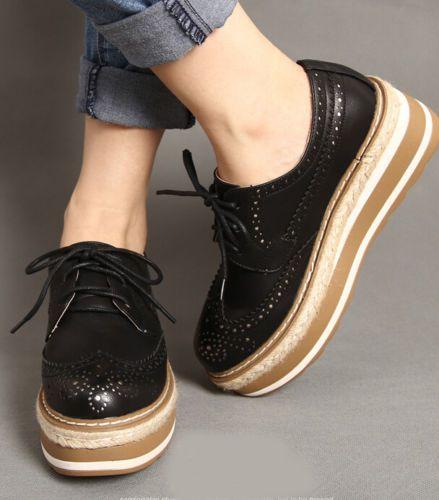 Para Mujeres con cordones Altas Plataforma Cuña Tacón Cuero Calado Creepers Zapatos Oxford bombas Siz