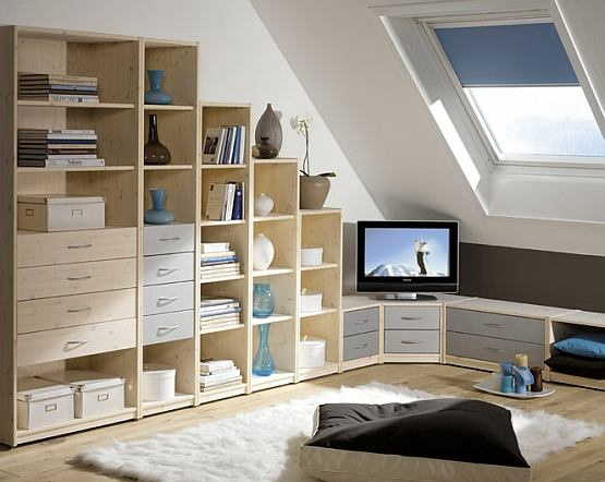 loft conversion different height shelving units interior. Black Bedroom Furniture Sets. Home Design Ideas