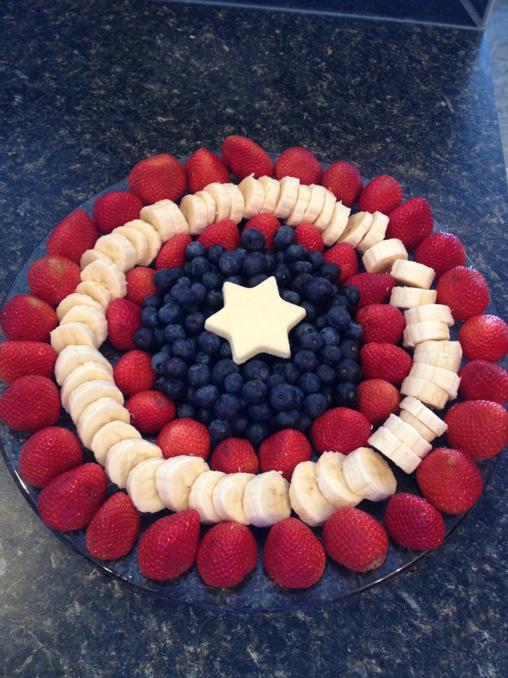 Captain America shield fruit platter. Maybe use raspberries for the inside red layer instead of strawberries again.