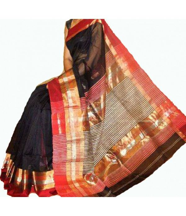 Black Handloom Maheshwari Cotton Silk Saree--- The maheshwari sarees are almost the choice of woman who see elegance in simplicity.. For details click here---  http://luxurionworld.com/maheshwari-silk-cotton-sarees/LWMHSSIA02_Black_Handloom_Maheswari_Cotton_Silk_Saree.html