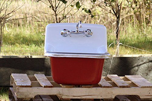"""Refinished 22"""" Deep Basin Dead Stock Cast Iron Porcelain Farm Utility Sink Incarnadine Red >>> You can find more details by visiting the image link. (Amazon affiliate link)"""