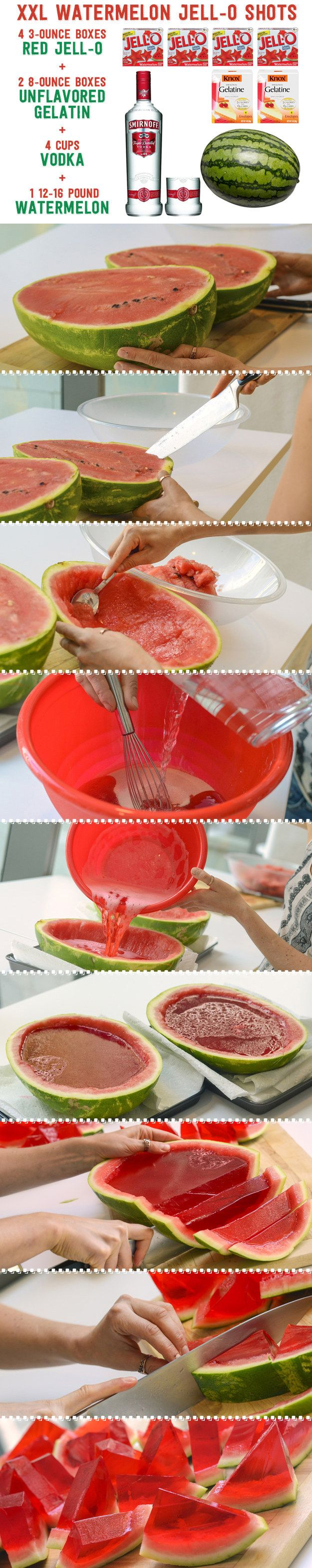 Make these awesome watermelon Jell-O shots for your 4th of July party!