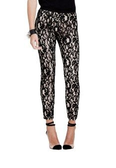 Stylestalker panthers black lace pant $169 | threads and style