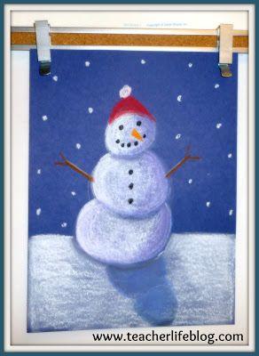 "The Teacher Life: ""Snowmen at Night"" Chalk Art! {Art Lesson Tutorial}"