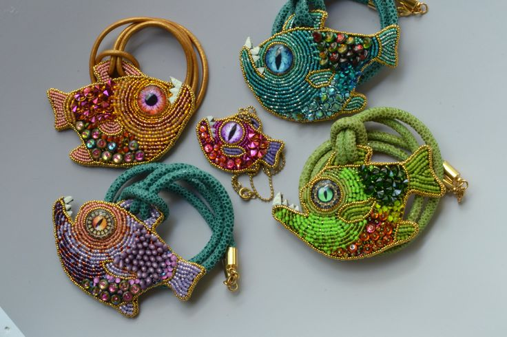 Marion the romantic fish bead embroidered fish by crimsonfrog