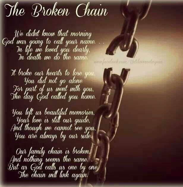 The Broken Chain. Oh That Link Is Gone But I Will See You Again Daddy And  Our Chain Will Link Again. Find This Pin And More On In Memory Of My Loved  Ones ...