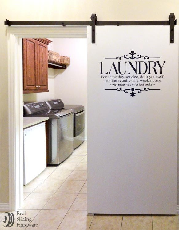 Laundry room barn door- would love to do something similar in my kitchen, only with Steve's & Sons glass pantry door!