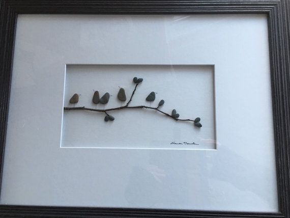 12 by 16 framed pebble art birds on branch by PebbleArt on Etsy