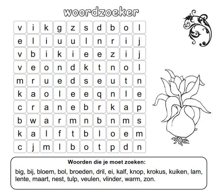 Woordzoeker Werkboekjes Yurls Net Lente Puzzels