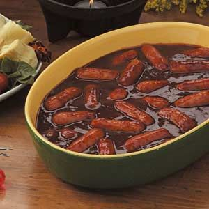 Slow-Cooked Smokies.1 package (1 pound) miniature smoked sausages.  1 bottle (28 ounces) barbecue sauce.  1-1/4 cups water.  3 tablespoons Worcestershire sauce.  3 tablespoons steak sauce.  1/2 teaspoon pepper.