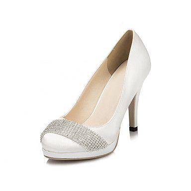 Satin Women's Wedding Stiletto Heel Platform Pumps/Heels With Rhinestone Shoes(More Colors) – USD $ 39.99