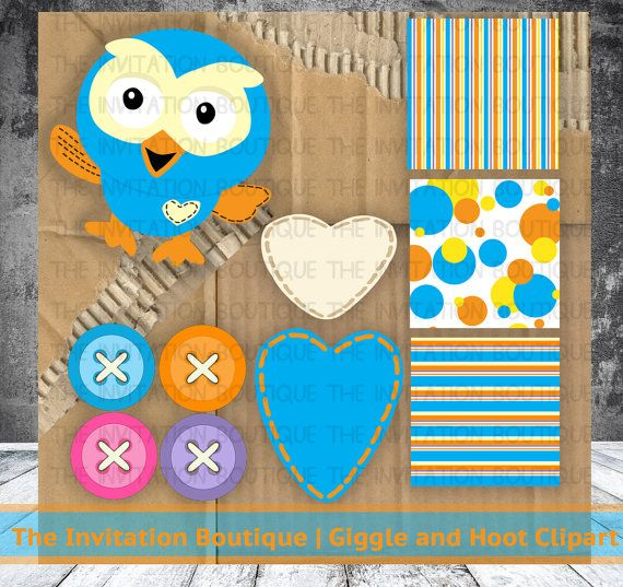 Giggle and Hoot Inspired Clipart / Paper by TheInvitationBoutiqu, $15.00