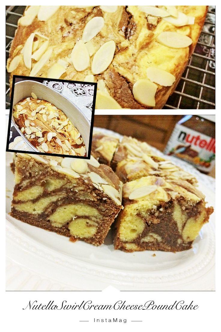 Homemade Nutella Swirl Cream Cheese Pound Cake  #homemade #limut