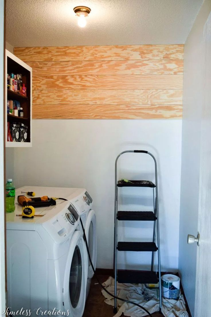 Shiplap Wall in the Laundry Room! – $100 Room Challenge Week 4