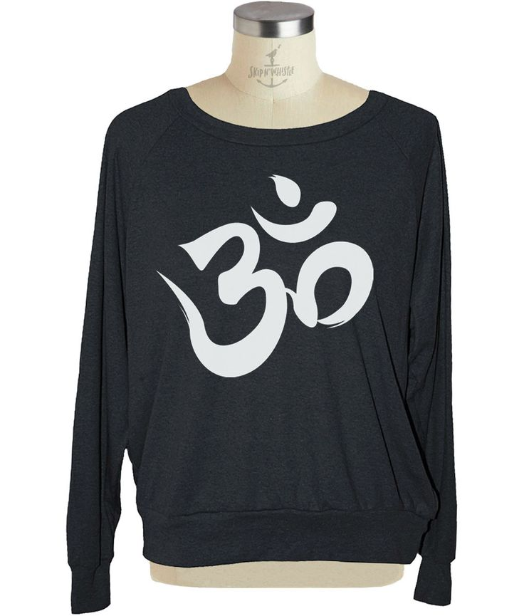 Long sleeve yoga OHM SYMBOL raglan womens pullover American Apparel (sm med lg ) skip n whistle by skipnwhistle on Etsy https://www.etsy.com/listing/179306443/long-sleeve-yoga-ohm-symbol-raglan