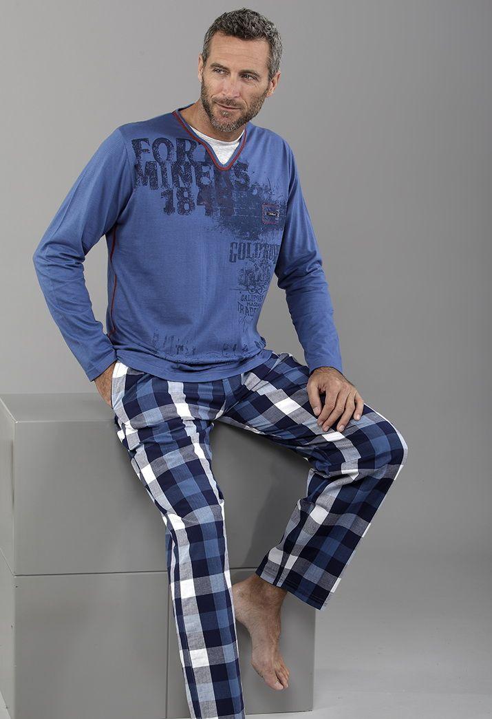 "Pijama para él ""total blue"" con pantalón largo a cuadros"