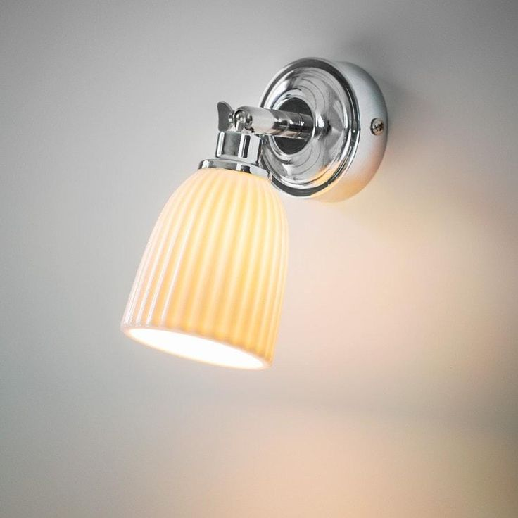 Elegant Alma Bathroom Spotlight Light with Porcelain Shade from The Farthing