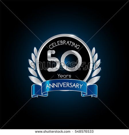 50 years silver anniversary celebration logo with blue ribbon , isolated on dark background