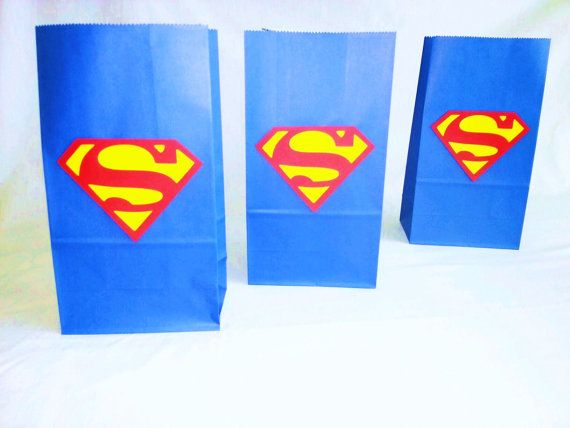 SALE .Superman  Party Bags  Birthday bags Goodie bag by JazzyBug, $15.99 Superman or Supergirl Party Gift goodie bags