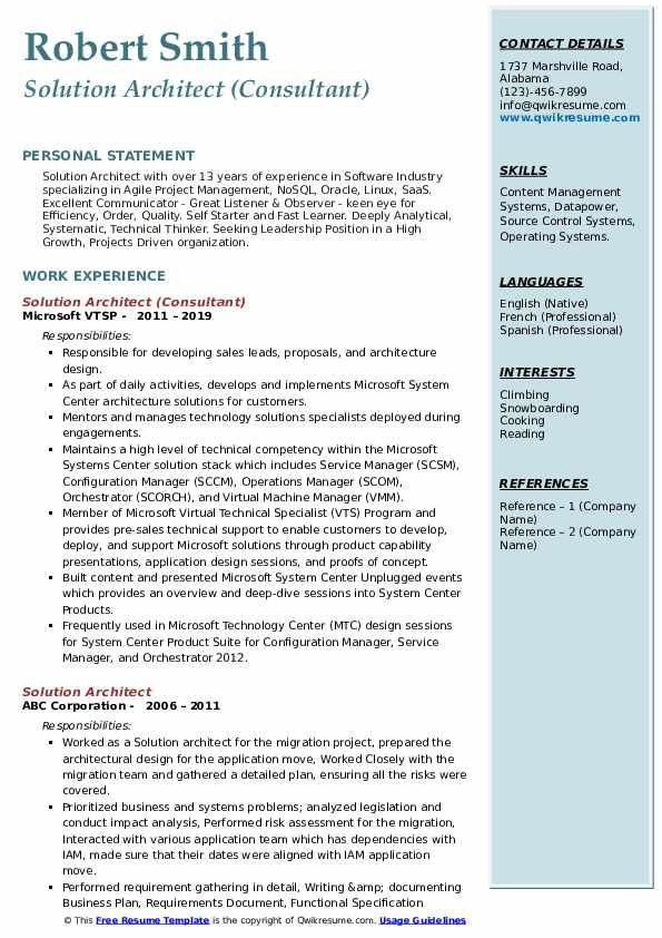 Solution Architect Resume Samples Resume Skills Resume Examples Job Resume Samples