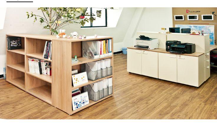 두닷 - 낮은 책장 파티션 사무실 인테리어, 화이트 책장, 책상, 홈오피스