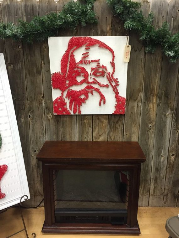 Santa 2x2 MADE WITH NAILS AND STRING!!! (very sturdy) made with nails and string! Very original piece for collectors or for any Christmas mantle piece.